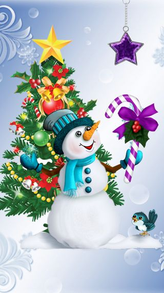 Обои на телефон снеговик, рождество, дерево, x man