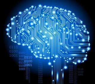 Обои на телефон технологии, черные, синие, мозг, binary
