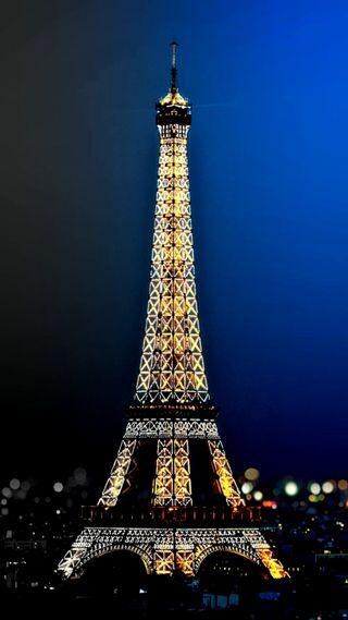 Обои на телефон синие, сверкающие, париж, боке, башня