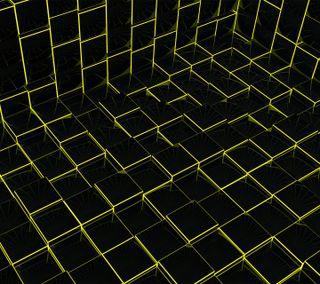 Обои на телефон коробка, черные, провод, куб, желтые, wireframe, 3д, 3d