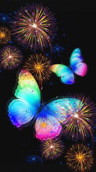 Обои на телефон фейерверк, празднование, дизайн, бабочки, абстрактные