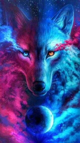 Обои на телефон одинокий, цветные, синие, розовые, новый, красые, галактика, волк, белые, galaxy
