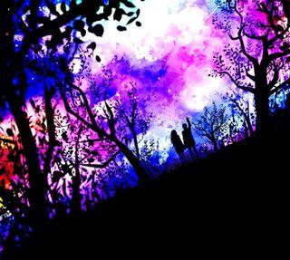 Обои на телефон парень, природа, пара, звезды, деревья, девушки, арт, аниме, art