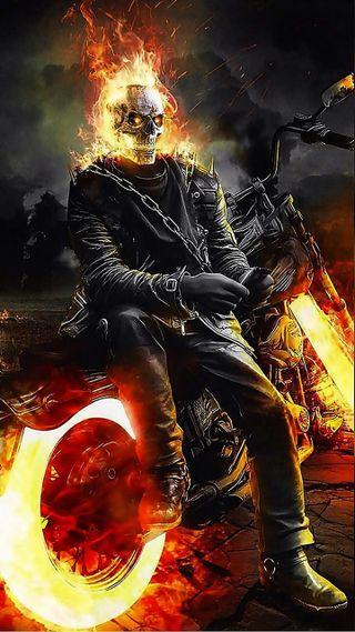 Обои на телефон горящий, всадник, призрак, байк, riders, gost rider, ghost, burning bike