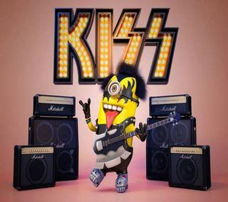 Обои на телефон гитара, рок, поцелуй, певец, музыка, миньоны, металл, забавные, группа