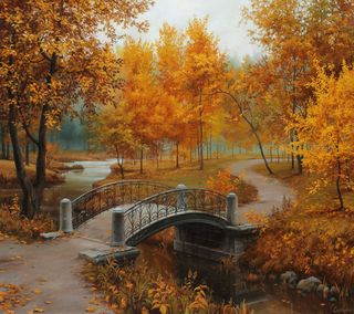 Обои на телефон art, fine lushpin, autumn in old park, красые, арт, вода, лес, осень, листья, река, мост, старые, парк, отлично
