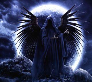 Обои на телефон смерть, череп, темные, луна, ангел