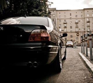 Обои на телефон ряд, черные, машины, зад, бмв, e38, bmw e38, black cars, 7 series