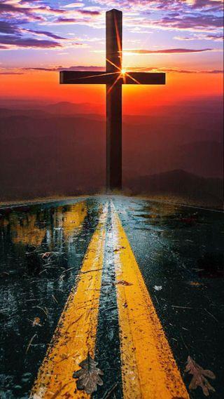 Обои на телефон верить, христианские, путь, небо, крест, исус, дорога, бог, road to god