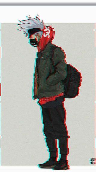 Обои на телефон hypebeast, yeezy, supreme x kakshi, синие, красые, аниме, наруто, какаши, сбой