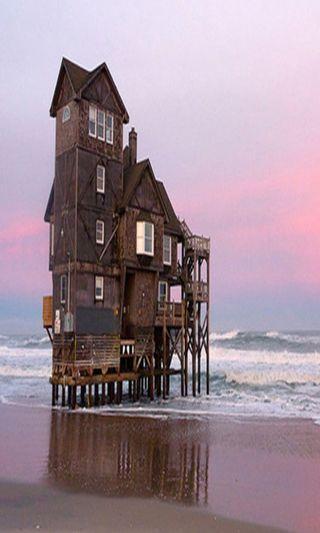 Обои на телефон берег, море, дом