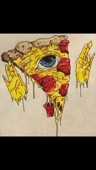 Обои на телефон пицца, странные, глаза, cheesy