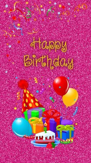 Обои на телефон торт, шары, счастливые, розовые, день рождения, glittery