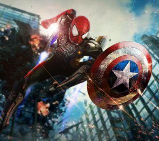 Обои на телефон голливуд, человек паук, супергерои, рисунки, мультфильмы, марвел, комиксы, гражданская, войны, spiderman civil wars, marvel, dc