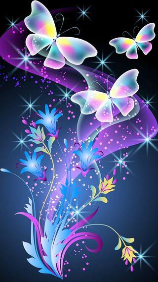 Обои на телефон цифровое, бабочки, абстрактные