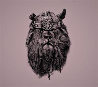 Обои на телефон шлем, лев, викинг, взгляд, mane, horn, braids