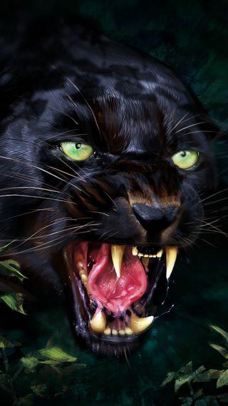 Обои на телефон черные, пантера, лицо, кошки, зубы, злые, зеленые, глаза, green eyes, big