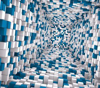Обои на телефон intel, 3d tunnel cubes, абстрактные, 3д, кубы, туннель