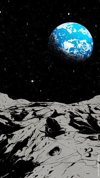 Обои на телефон иллюстрации, цифровое, от, луна, космос, земля, звезды, from space, From, Digital