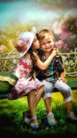 Обои на телефон дети, смайлики, сад, поцелуй, любовь, жизнь, u r m smile, paintings, love