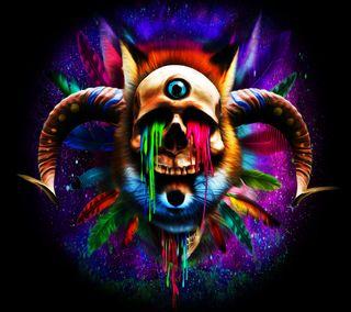 Обои на телефон странные, череп, рисунки, бык, абстрактные, psychedelia, bull skull