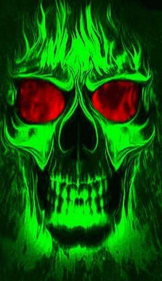 Обои на телефон пламя, череп, неоновые, зеленые, neon skull