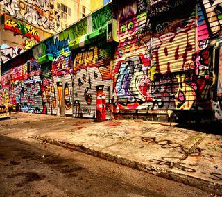 Обои на телефон 2160x1920, 3d street graffiti, 3д, улица, граффити