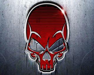 Обои на телефон серебряные, череп, смерть, металл, красые, red skull
