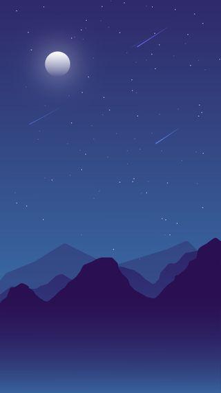 Обои на телефон синие, ночь, небо, луна, звезды, звезда, дизайн, горы, галактика, белые, galaxy