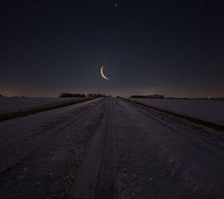 Обои на телефон звезды, темные, снег, путь, поле, ночь, луна, зима, дорога