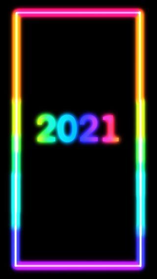Обои на телефон цветные, сияние, рамка, номер, неоновые, красочные, грани, год, tinsel, 2021