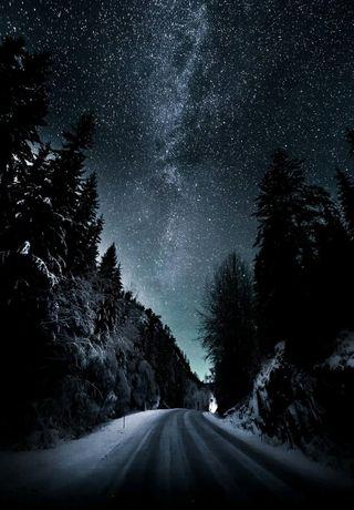 Обои на телефон оригинальные, ночь, небо, зима, звезды, звезда, горы, winter night 2019, plus, mac, hd