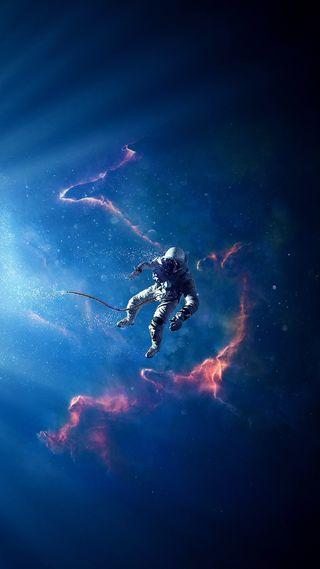 Обои на телефон солнечный, туманность, космос, космонавт, звезды, галактика, galaxy