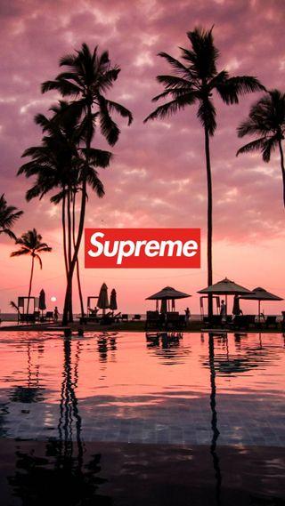 Обои на телефон пальмы, облака, закат, вода, swag, supreme, dope