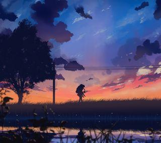 Обои на телефон замечательный, природа, поцелуй, пара, обнимать, любовь, закат, аниме, wonderful times, love