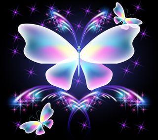 Обои на телефон бабочки, фон, сверкающие, неоновые, красочные, абстрактный