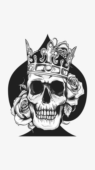 Обои на телефон туз, черные, череп, страшные, розы, ночь, король, дикий, supreme, kingskull