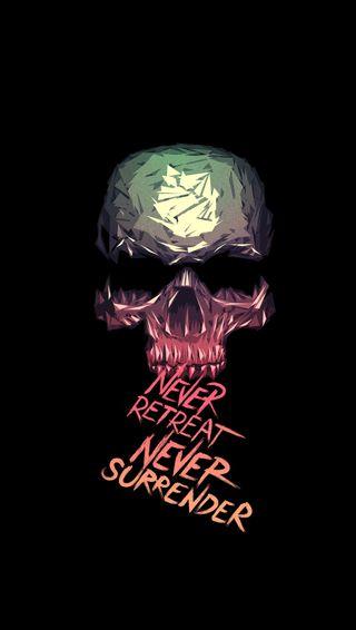 Обои на телефон никогда, череп, surrender, retreat