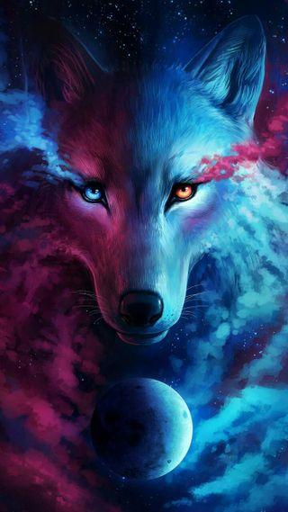 Обои на телефон фантазия, синие, розовые, животные, волк