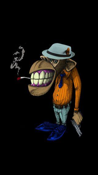 Обои на телефон рисунки, обезьяны, крутые, забавные, smokey, mobster