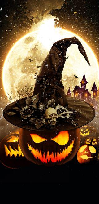 Обои на телефон тыква, череп, хэллоуин, светящиеся, ведьма, halloween pumpkins