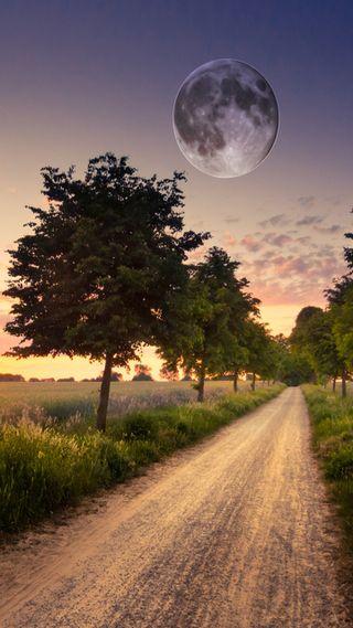 Обои на телефон страна, приятные, природа, поле, пейзаж, новый, луна, естественные, бок, hd