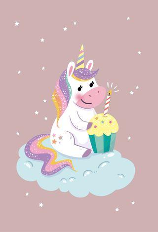 Обои на телефон happy, милые, розовые, счастливые, единорог, день рождения, пони, стильные, кекс