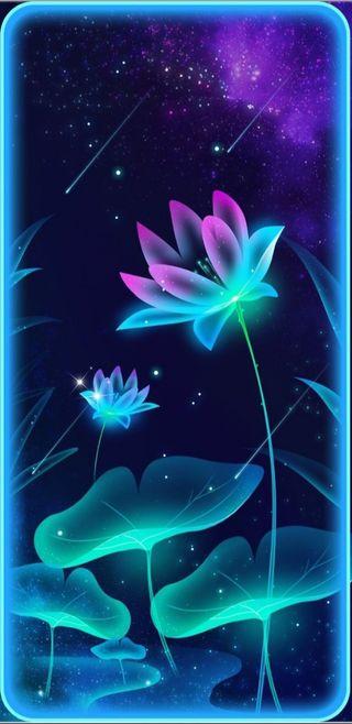 Обои на телефон цветы, цветочные, фиолетовые, симпатичные, светящиеся, девчачие, бирюзовые, floralglow