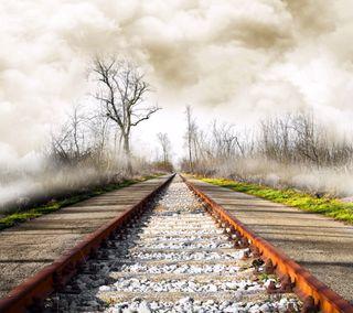 Обои на телефон туманные, облака, небо, природа, поезда, камни, железная дорога