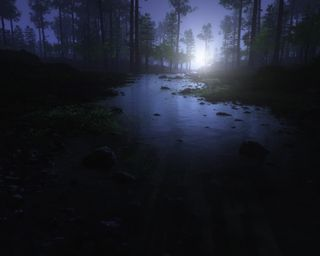 Обои на телефон силуэт, темные, река, природа, пейзаж, лес, камни, деревья, moonlights, dark landscape