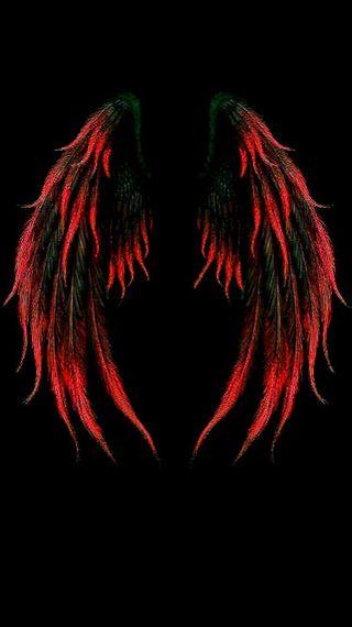 Обои на телефон крылья, черные, тема, омбре, красые, ангел, red black, red angel wings, hd, 3д, 3d