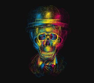 Обои на телефон скелет, череп, цветные, радуга, новый, неоновые, крутые, красочные, rainbow skull