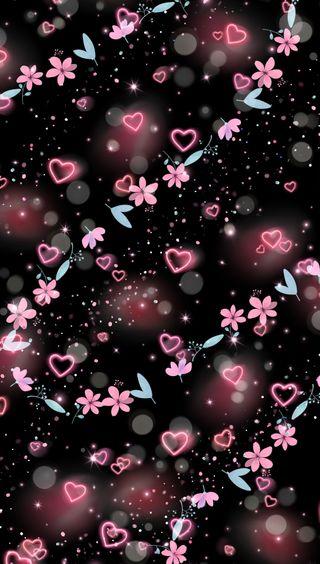 Обои на телефон шаблон, цветы, сердце, светящиеся, свет, розовые, милые, галактика, luminaries, galaxy