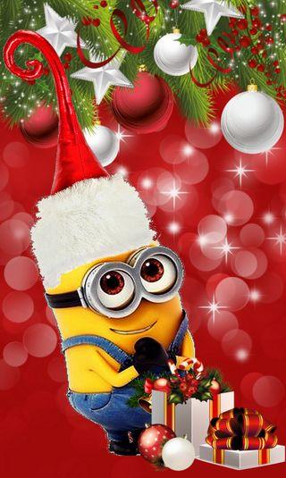 Обои на телефон миньоны, счастливое, рождество, подарок, мультфильмы